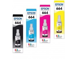 Epson L100, L110, L130, L210, L310 Ink Bottle Set (Black, Cyan, Magenta, Yellow) 4 Bottles