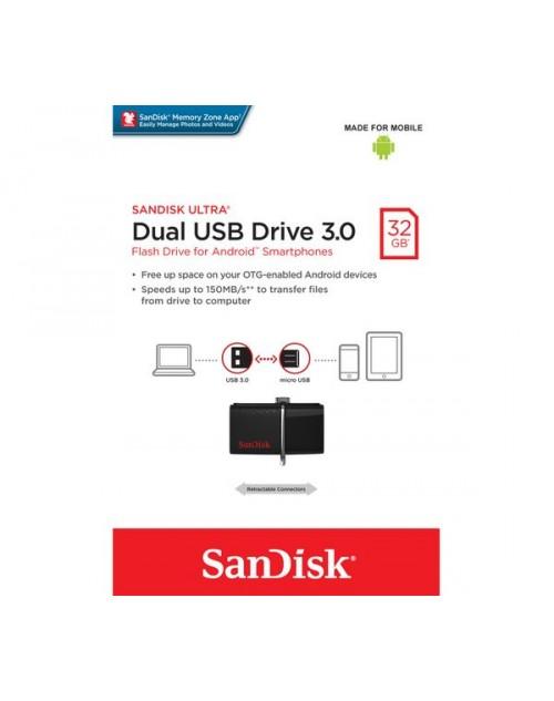 San Disk 32GB USB 3.0 / OTG Pen Drive (USB 3.0 & Micro USB)
