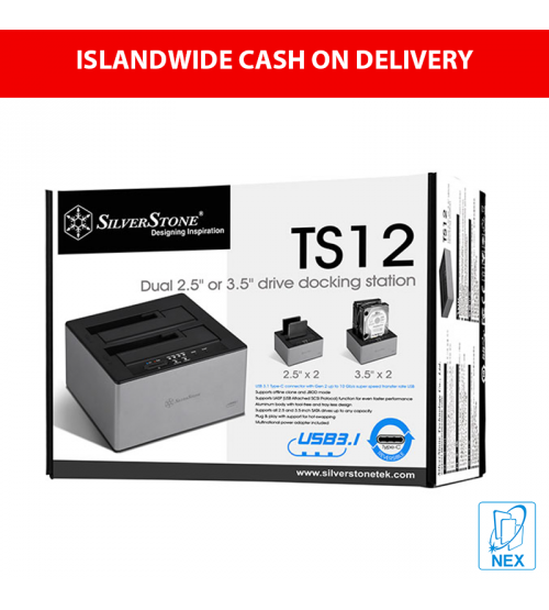 """Silverstone TS12 USB C Docking Station with offline clone and JBOD mode for dual 2.5"""" or 3.5"""" SATA drives"""