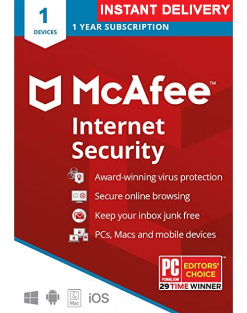 Mcafee Internet Security 2020 (One Year One User Subsription)